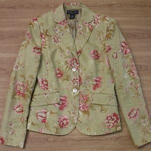 Brooks Brothers Floral on Khaki 100%Linen Jacket